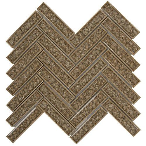 Modket TDH188MO Gray Crackled Glass Mosaic Tile Herringbone Pattern Backsplash