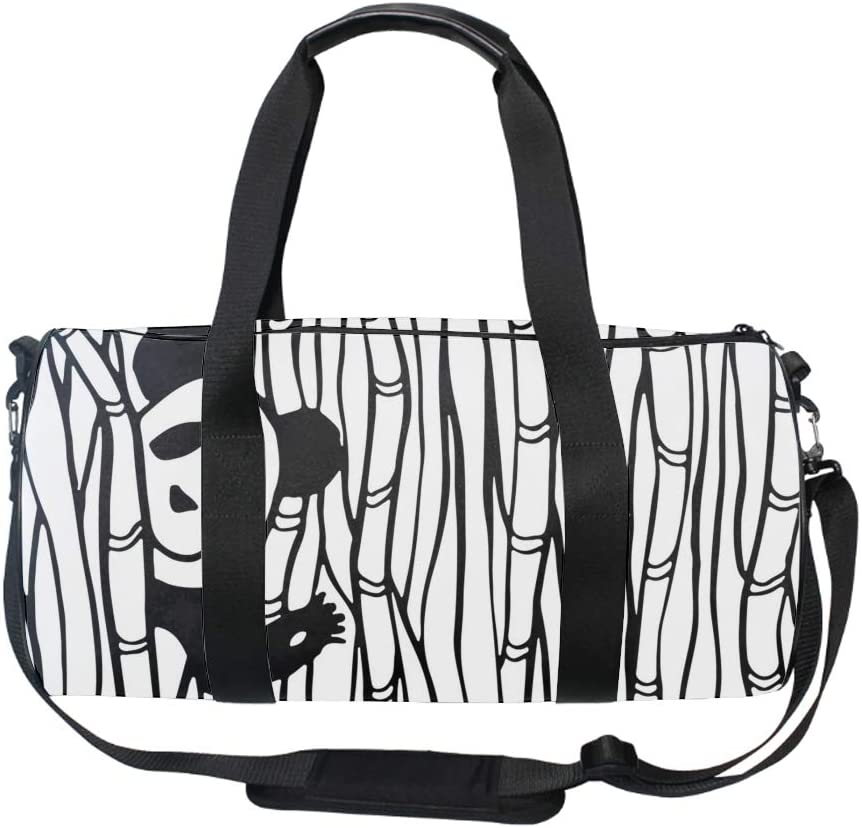 Gym Bag Cute Panda In The Bamboo Forest Sports Travel Duffel Lightweight Canvas Bag