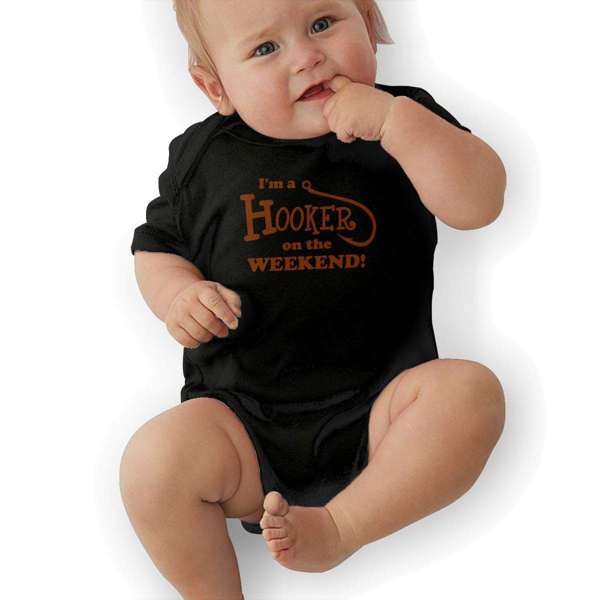 Short Sleeve Cotton Bodysuit for Unisex Baby Fashion Im A Hooker On The Weekend Jumpsuit