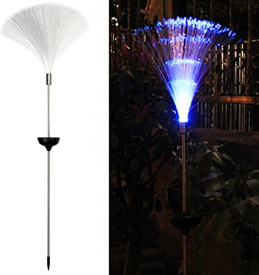 SOLAR POWERED FIBRE OPTIC COLOUR CHANGING LED GARDEN OUTDOOR LIGHT LAMP NEW