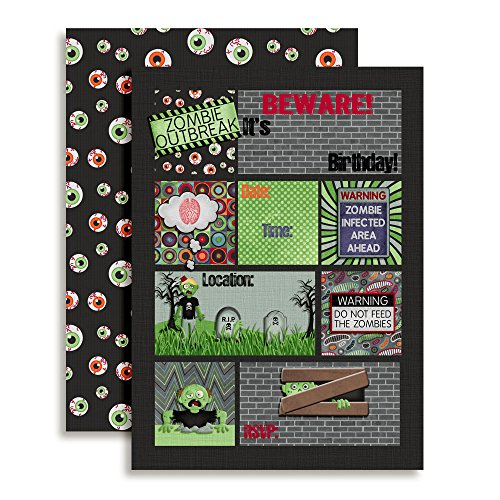 Zombie Outbreak Halloween Birthday Party Invitations, 20 5