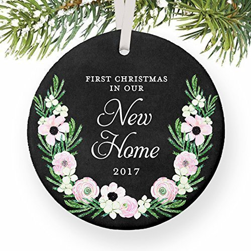 New Home Keepsake Gifts 2017, First Christmas In Our New Home Ornament, New Homeowners Housewarming 1st Xmas House Present 3