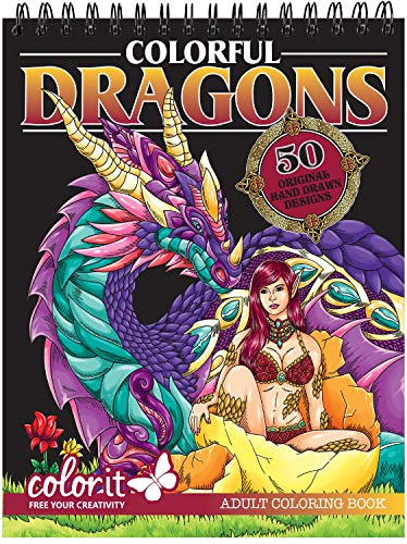 ColorIt Colorful Dragons Adult Coloring Book - 50 Single-Sided Designs, Thick Smooth Paper, Lay Flat Hardback Covers, Spiral Bound, USA Printed, Dragon Pages to Color ()