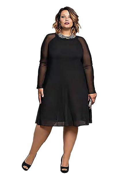 a833748814a CARISAL FASHION,vestido negro cóctel,manga larga transparente moda curvy  (46)
