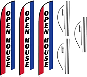 Three (3) Pack Swooper Flags & Pole Kits Open House Red White Blue Vertical