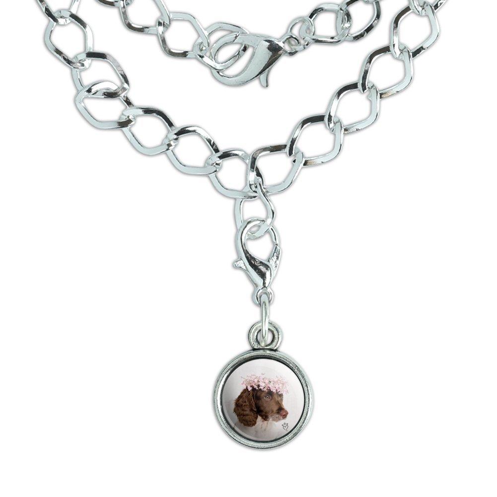 GRAPHICS /& MORE Springer Spaniel Dog Flower Blossom Tiara Silver Plated Bracelet with Antiqued Charm
