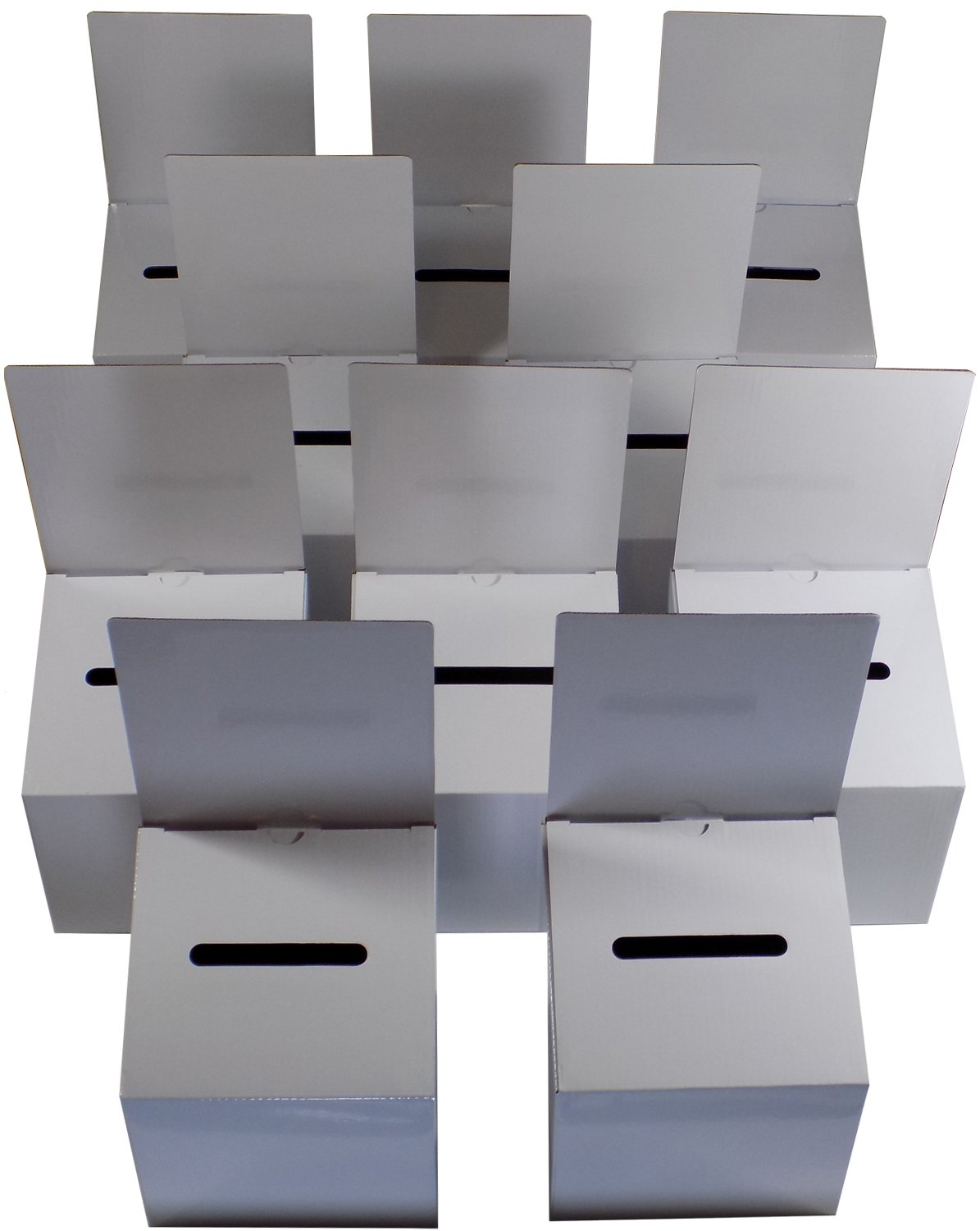 10 Pack Ballot Boxes Medium Size Cardboard Glossy White With Blank Labels