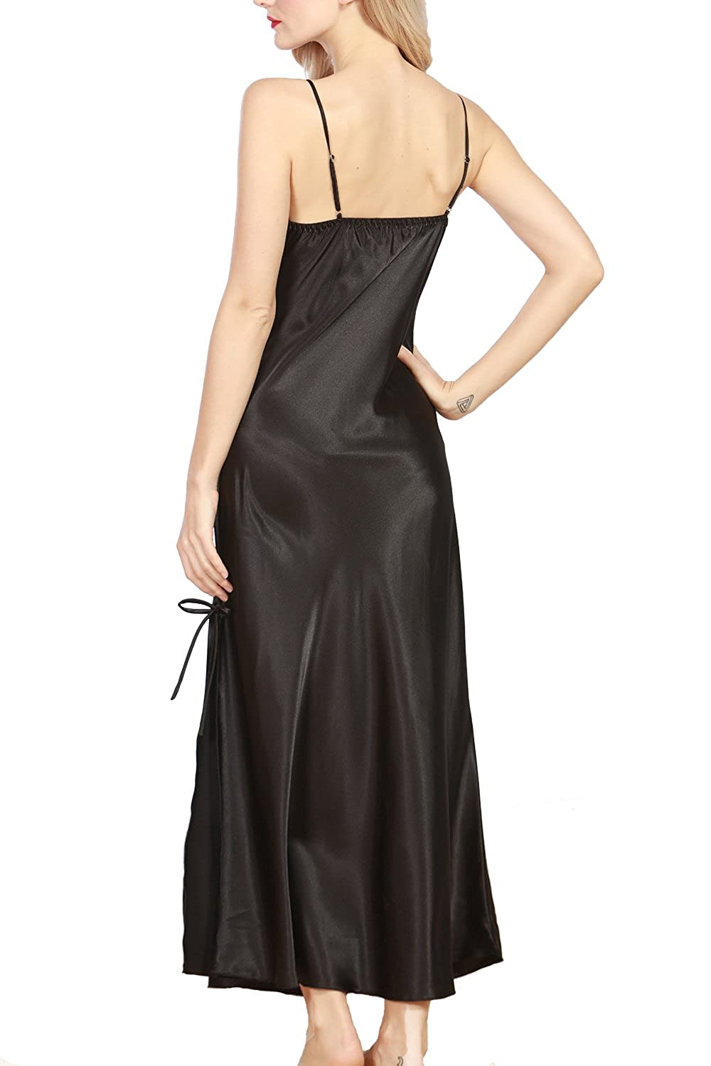 b231b7762d iooho Women s Satin Nightgown Long Slip Sleeveless Sleepwear Night Dress  Sexy Night Wear for Women Black at Amazon Women s Clothing store