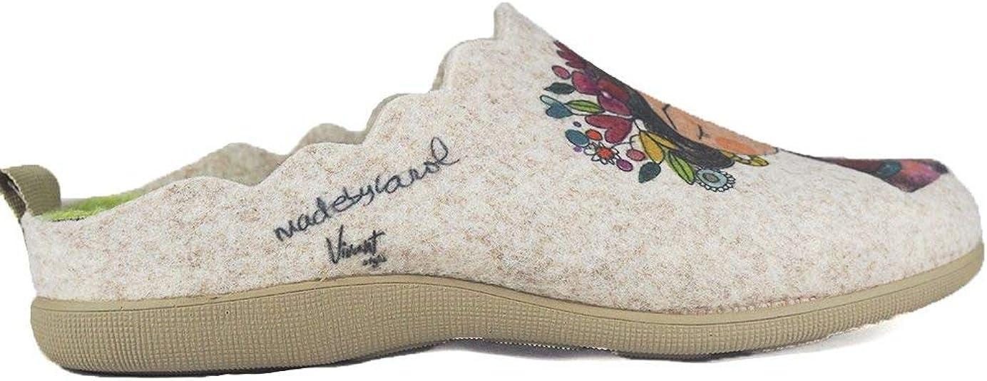 Pantuflas Zapatillas de Estar en casa para Mujer Invierno Vivant 192571 Beig