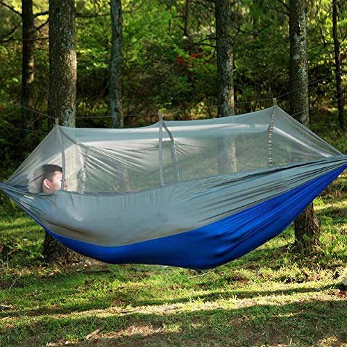 HLL Camping Portable Hammock,1-2 Person with Mosquito Net Fabric Hanging Bed Hammock Bed Outdoor Swing Hammocks Mosquito Net,Orange