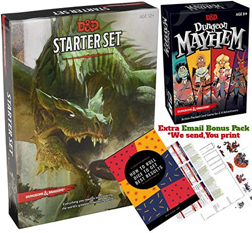 Dungeons and Dragons 5th Edition Starter Set - Dungeon Mayhem Card Game - D&D 5e Dungeons and Dragons Starter Kit Fifth Edition - DND 5e Beginner Board Game Gift Set with Complete Starter Kit (Dungeons Dragons Beginner)