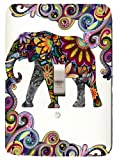 Colorful Elephant Mosaic Single Toggle Light Switchplate
