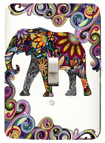 Colorful Elephant Mosaic Single Toggle Light Switchplate by Jessies Designs