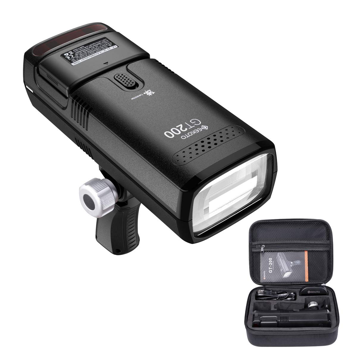 GEEKOTO Flash Speedlite 200W TTL 2.4G Flash Strobe Light 1/8000 HSS Monolight with 2900mAh Lithium Battery and Provide 500 Flashes in 0.01-2.1 sec by GEEKOTO