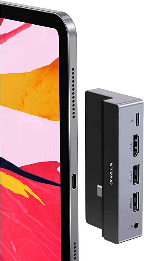 Hub USB C UGREEN para iPad Pro, adaptador 5 em 1 USB C iPad Pro com 4K HDMI, USB 3.0, carregamento PD de 100W, conector de áudio de 3, 5 mm compatível com iPad Pro 2020 2018 12, 9/11 polegadas