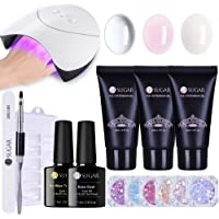 UR SUGAR Poly Quick Gel Nail Kit -36W Nail Lamp Dryer+Nail Extentsion Pen Brush, Nail Tips with 6pcs Paillette Iridescent Flakes