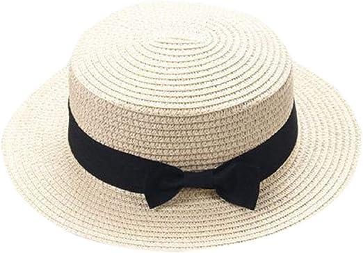Mother/&Me Baby Bowknot Children Breathable Straw Kids Hat Boy Girl Sun Beach Cap