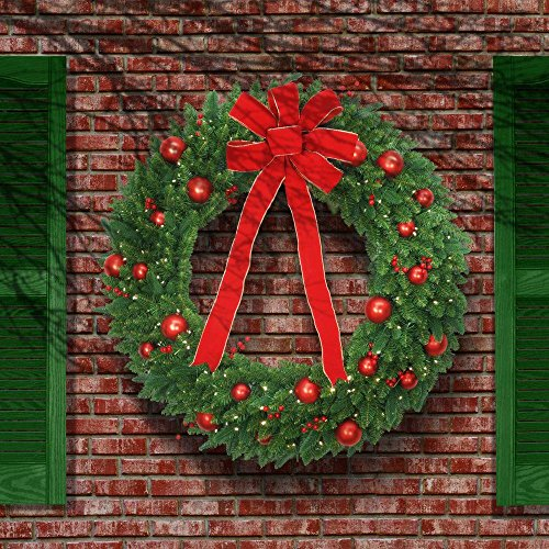 48 in. Battery Operated Mixed Fir Artificial Wreath with 200 Clear LED Lights (1) by Generic (Image #1)