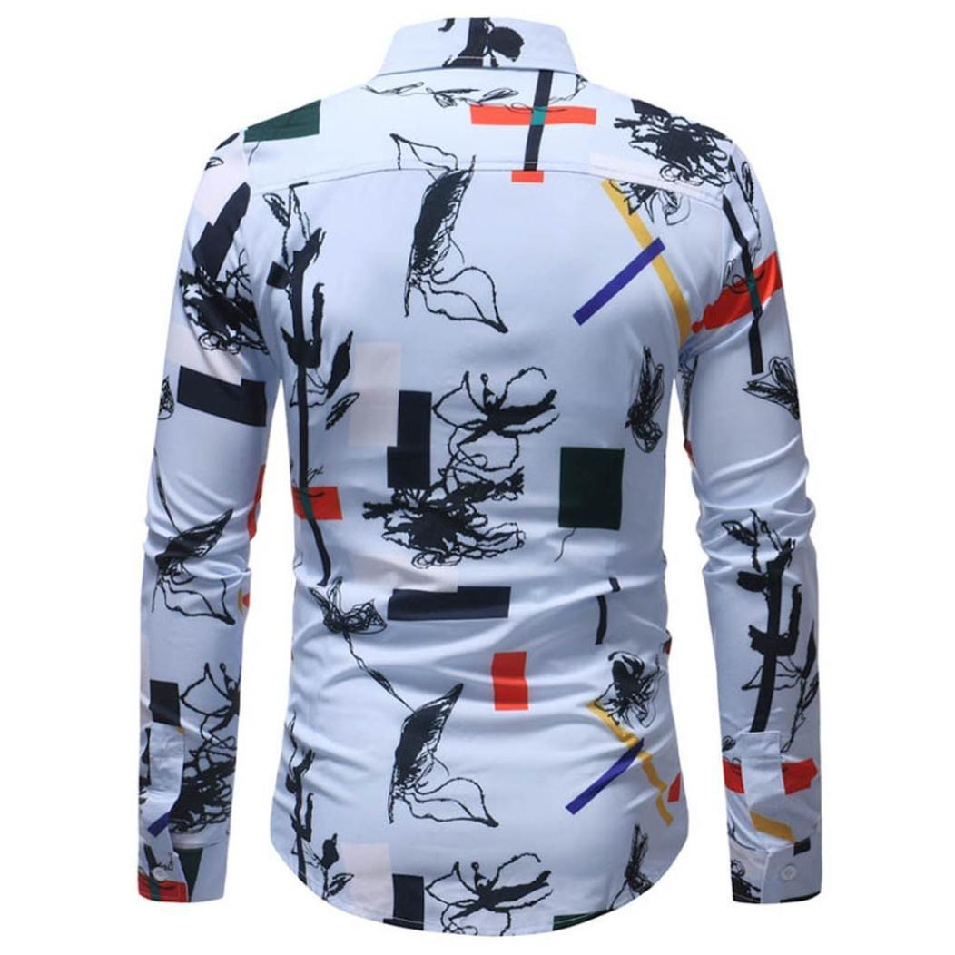 NREALY Mens Fashion Printed Blouse Casual Long Sleeve Slim Shirts Tops Vest Tunic