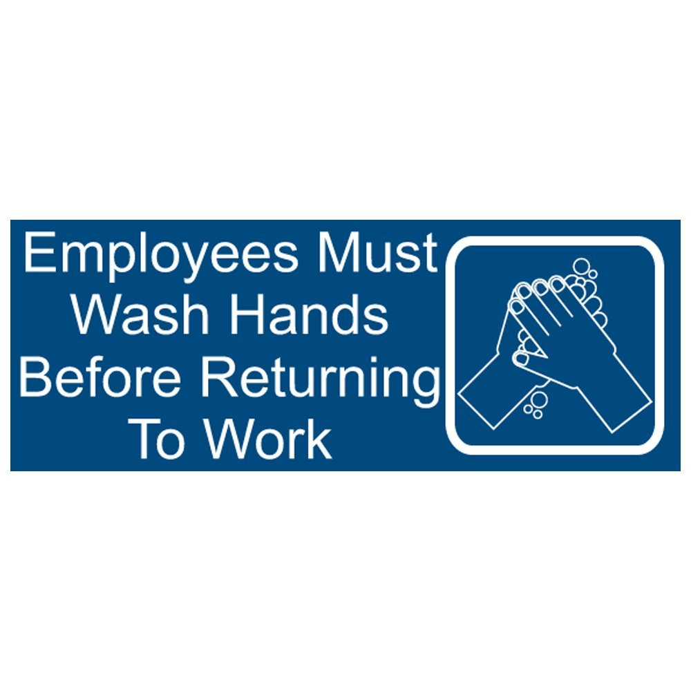ComplianceSigns Engraved Plastic Sign 8 x 3 in. with Silver-finish Bracket and Employee Wash Hands Message - Blue