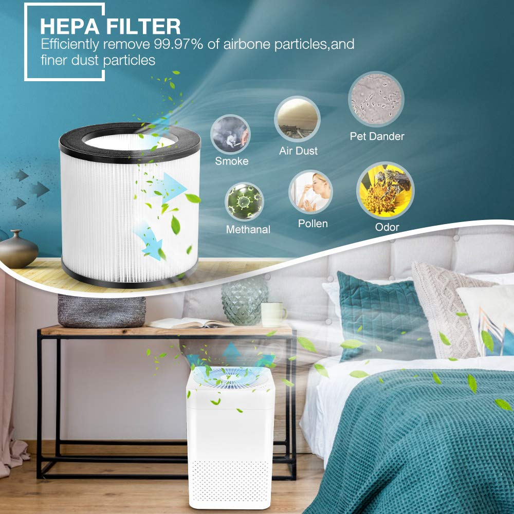 Air Purifier – 3-in-1 True HEPA Air Purifier, Sleep Mode Auto Mode, Auto Replacement Reminder, Quiet Operation, Air Cleaner for Home Office, Reduce Pet Dander, Household Odor, Smoke Dust