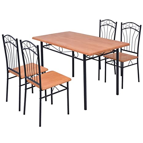 Festnight Set da Pranzo/Tavolo cucina con sedie 5 pz Marrone: Amazon ...