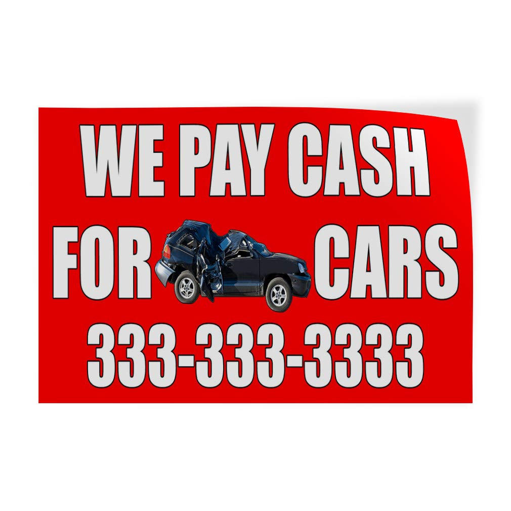 Amazon com decal sticker multiple sizes we pay cash for junk cars with image automotive we pay cash for junk cars outdoor store sign red 58inx38in
