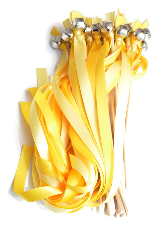 100 Daffodil Yellow & Butter Ribbon Silver Bell Wedding Wands #DivinityBraid #SendOffBells #WeddingWands #Wedding #Favors #CeremonySendOff #Party #KissingBells #RibbonWands
