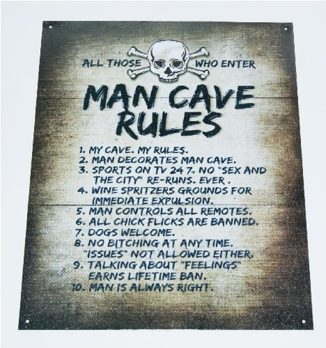 Cave Rules Gameroom Novelty Sign