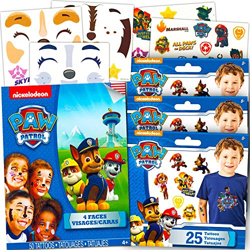 [Paw Patrol Tattoos Party Favors Costume Set -- 4 Face Masks Tattoos and 75 Temporary Tattoos] (Paw Patrol Costumes Skye)