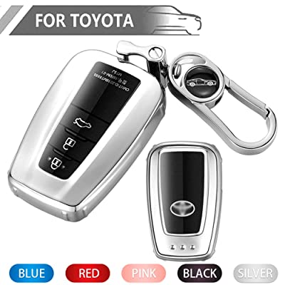 Key Fob Cover for Toyota, Soft TPU Key Fob Case All-Around Protector Plating Shell Fit Keyless Smart Remote Key of Toyota 2020 2020 Toyota Camry RAV4 Avalon C-HR Prius Corolla - Silver: Automotive