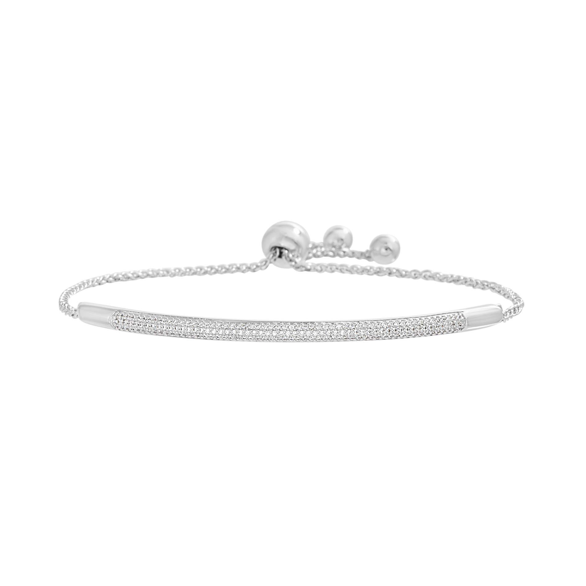 Devin Rose Rhodium Plated Sterling Silver 3/8 Cttw Diamond Bar Adjustable 6-8'' Slider Bolo Bracelet for Women by Devin Rose