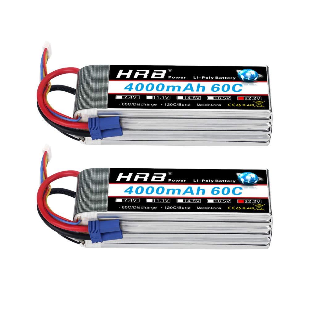 2 Baterias Lipo HRB 6S 22.2V 4000mAh 60C con EC5 Plug para R