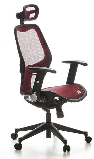 hjh OFFICE 653020 silla de oficina AIR-PORT tejido de malla rojo, apoyabrazos plegables, soporte lumbar, apoyacabezas, inclinable, sillón alta gama: ...