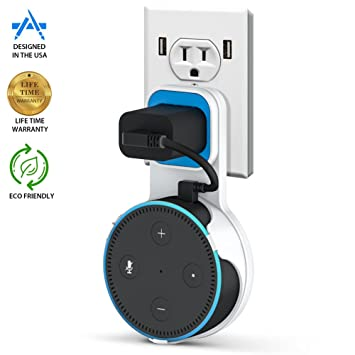 GMYLE Echo Dot 2 Wall Mount Hanger Holder Stand for  Alexa Echo Dot 2nd Generation Without Mess Wires Or Screws Bathroom and Bedroom Compact Holder Case Plug in Kitchens Dot Accessories
