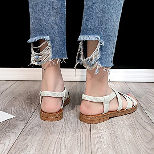 anta moda le toe retrò Onorevoli YMFIE spiaggia estate comfort da sandali white toe cross scarpe z5qwBRqgf
