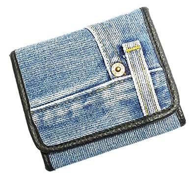 Bijoux De Ja Unisex Blue Denim Trifold Wallet Wristlet Purse