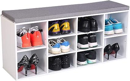 MAIMAITI Zapatero con Asiento Banco ,Asientos Acolchado para , con cojín Estantería para Zapatos 10 Huecos(103,5/29,5/48 cm) (Blanco)