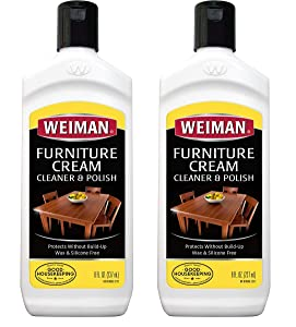 Weiman Wood Cleaner Conditioner and Polish 8 Ounce (2 Pack) - Use On Furniture, Wood Table Cleaner, Cabinet Restorer, Deep Conditioning and Polishing Wood Surfaces