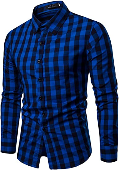 Camisa Hombre Classics Casual Manga Larga, Tops de Hombre, Shirt S-2XL Camisa para Hombre, a Cuadros Multicolores Botón Bolsillo Casual: Amazon.es: Ropa y accesorios