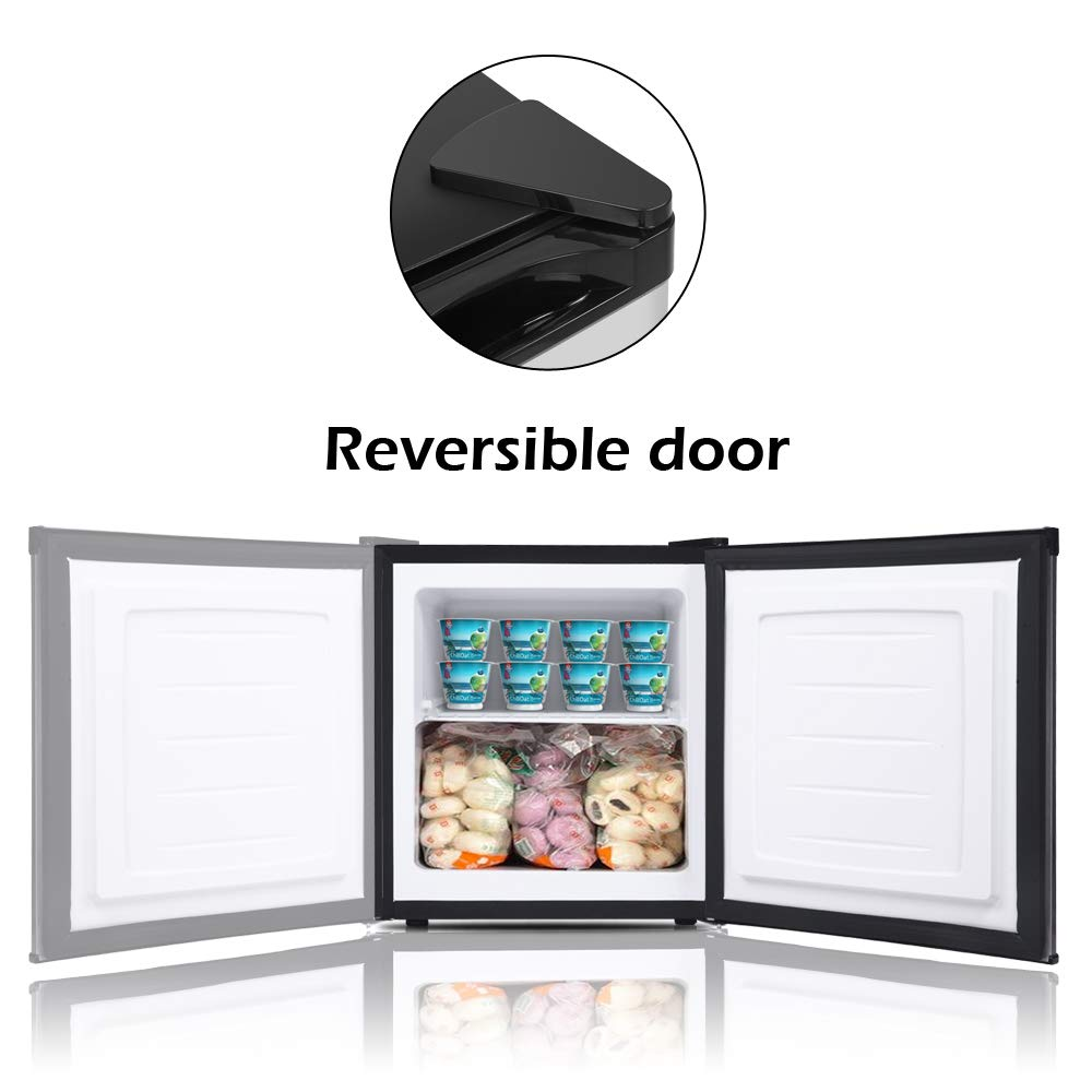 Removable Shelves ROVSUN 1.1 CU FT Upright Freezer with Reversible Stainless Steel Single Door