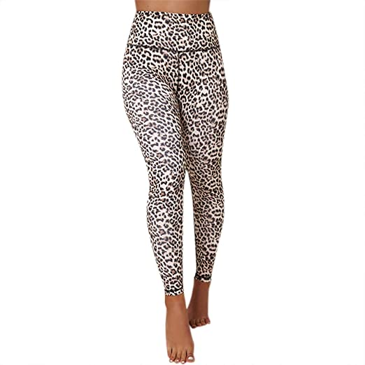9afd2e6b378ddc Amazon.com: Dream Room Women's Fashion High-Waist Leopard Print Yoga  Leggings Sports Gym Running Athletic Pants: Clothing