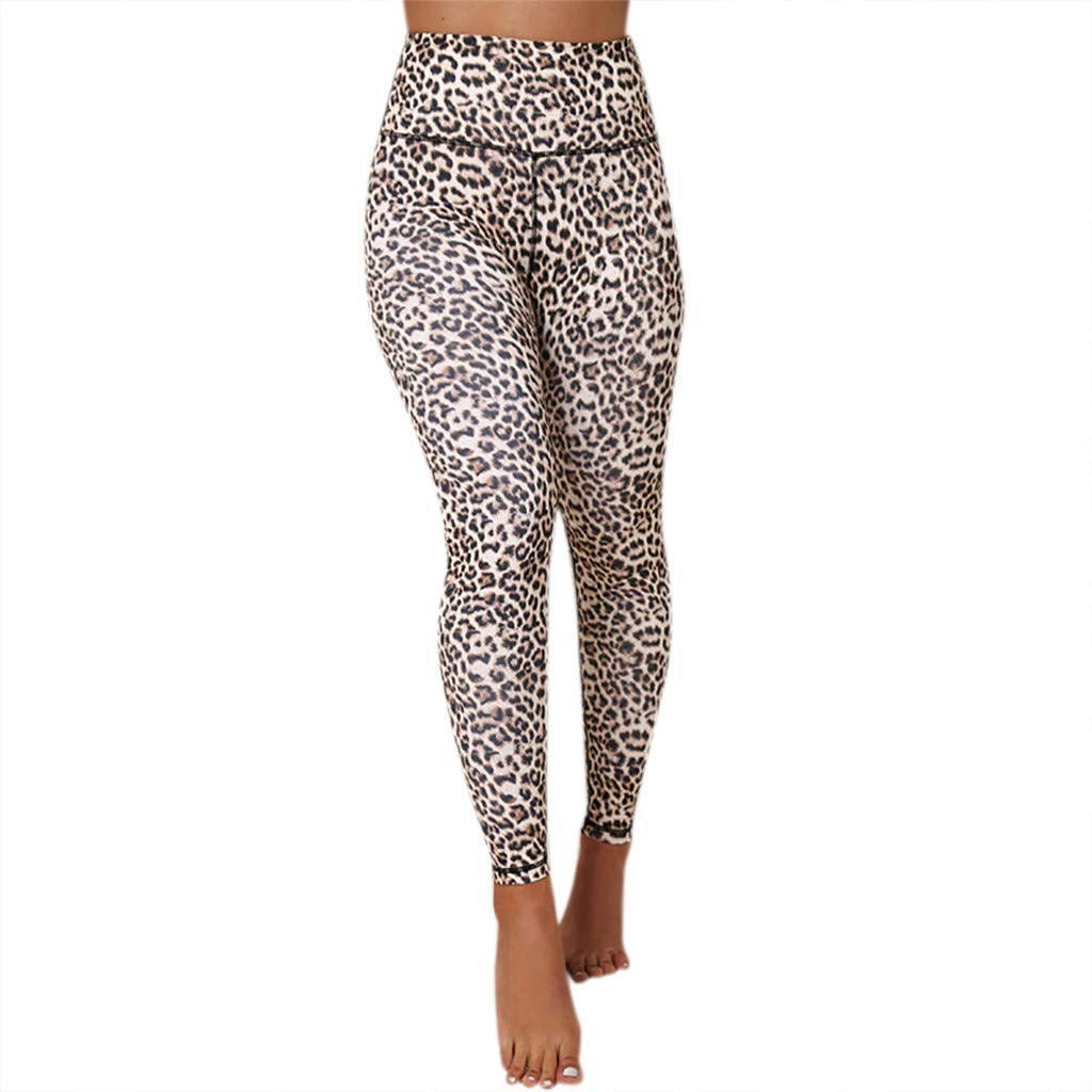 NUWFOR Women's Fashion Leopard Print Sports Gym Running Yoga Athletic Pants(Yellow,L US Waist :275-29.9'')