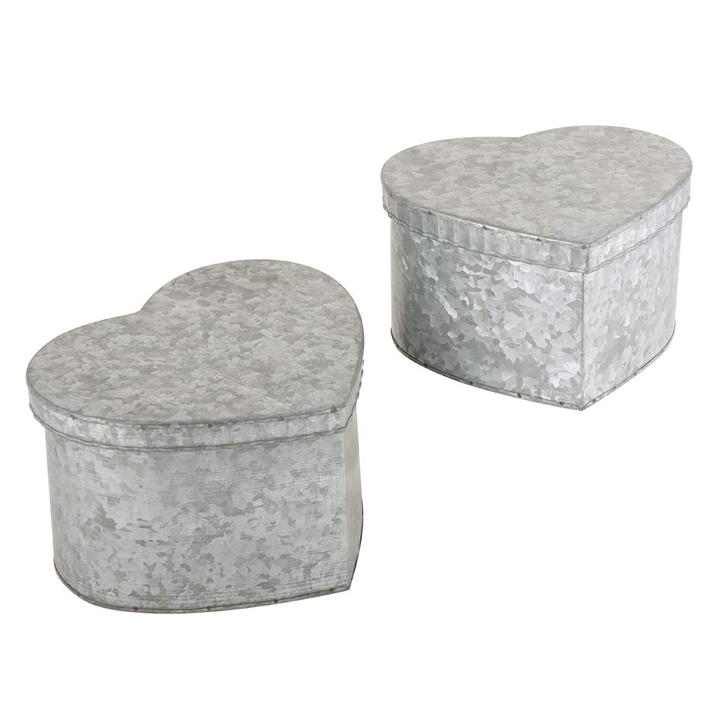 10th Wedding Set of 2 Country Style Heart Tin Storage Boxes H7.5 x W20.5 x D19.5cm