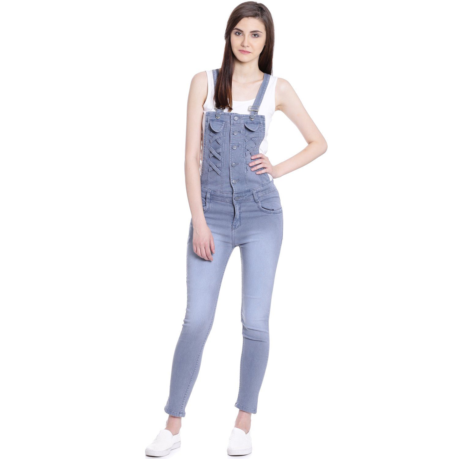 Broadstar Women Denim Grey Dungaree