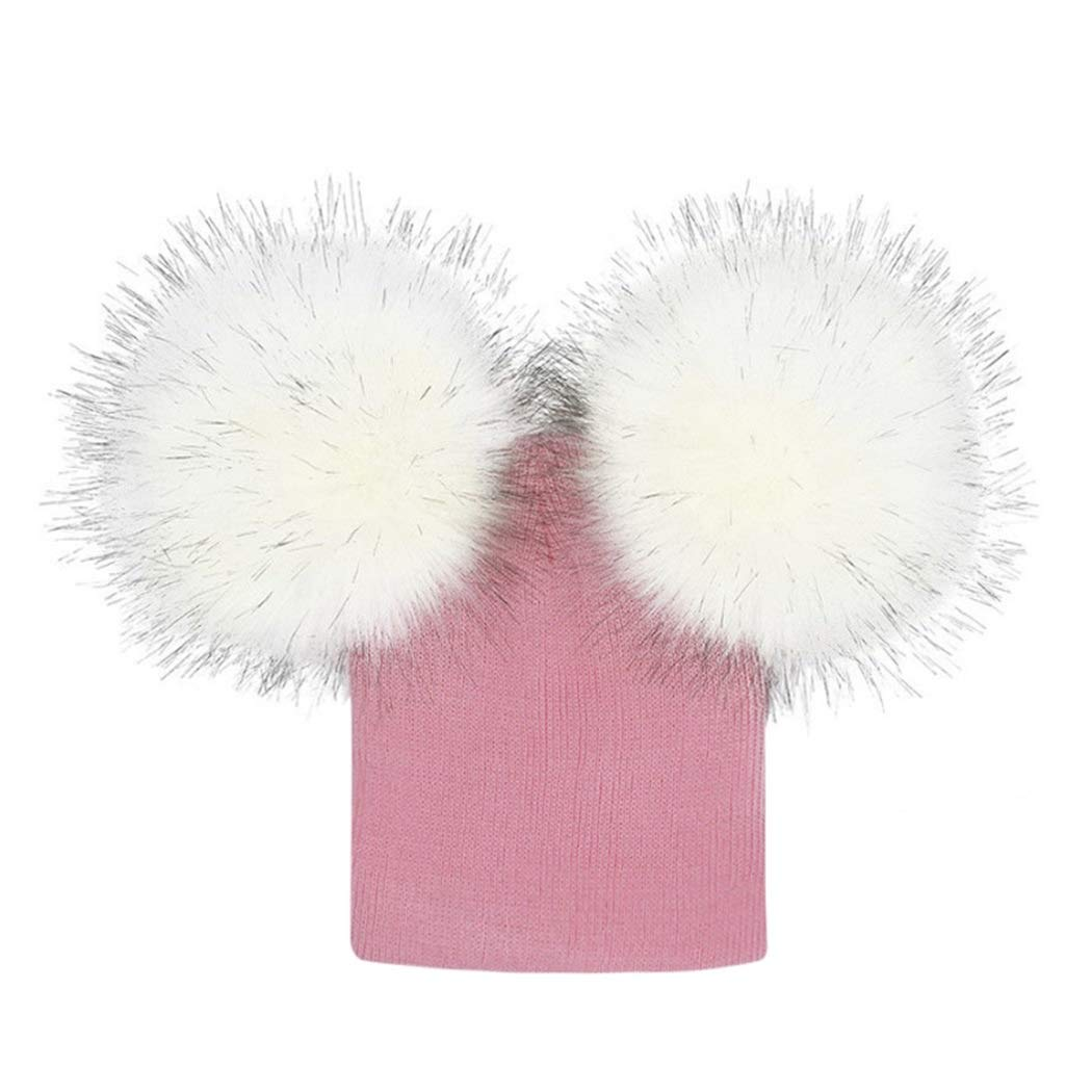 Baby Girls Boys Knitted Hats Double Faux Fur Pompom Beanies Bobble Knit Cap