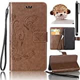 Samsung Galaxy S4 Case, Bonice 3 in 1 Accessory PU Leather Flip Practical Book Style Magnetic Snap Wallet Case with [Card Slots] [Hand Strip] Premium Multi-Function Design Cover + Stylus Pen + Diamond Lovely Money Antidust Plug, Brown