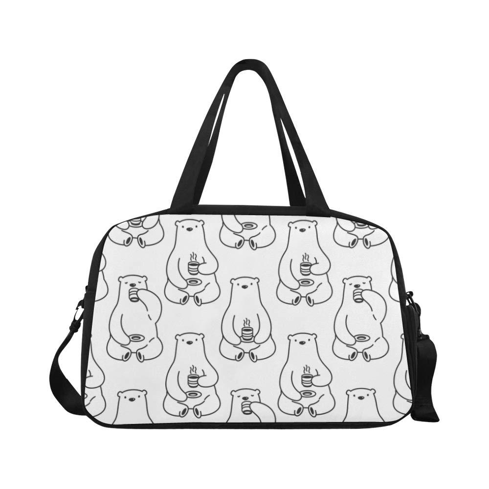 Handbags Fat Polar Bear Drunking Water Useful Travel Duffel Bags Daily Duffel Workout Bag For Teen Dancer Picnic Ballet Cycling Bag Duffel With Shoe Pounch