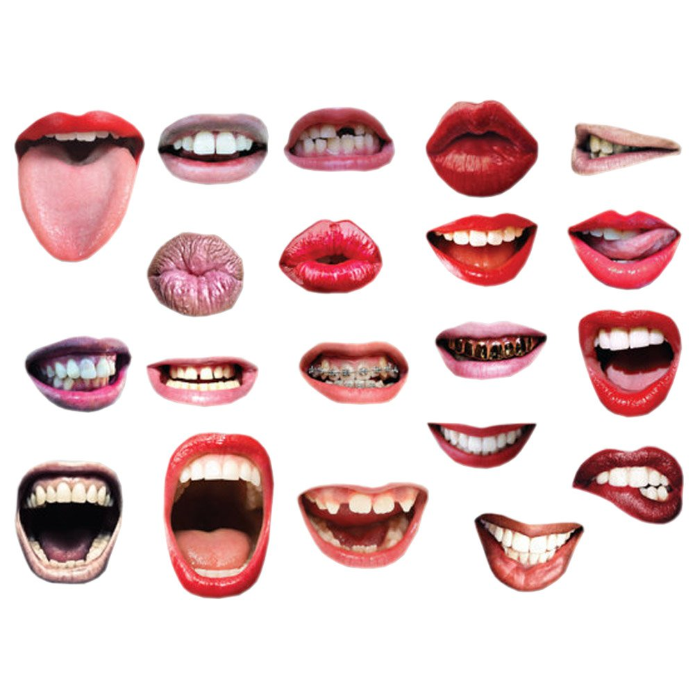 20 Pcs Emoji Mouth Photo Booth Props Lip Mask Birthday Wedding Party Game Accessories by Funbase (Image #1)