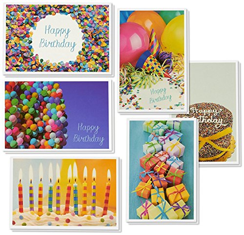 Birthday Card - 48-Pack Birthday Cards Box Set, Happy Birthday Cards - 6 Birthday Party Elements Designs Birthday Card Bulk, Envelopes Included, 4 x 6 ()